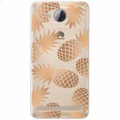 Etui na Huawei Y3 II - Złote ananasy.