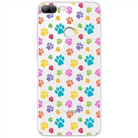 Etui na Huawei Honor 9 Lite - Kolorowe psie łapki.