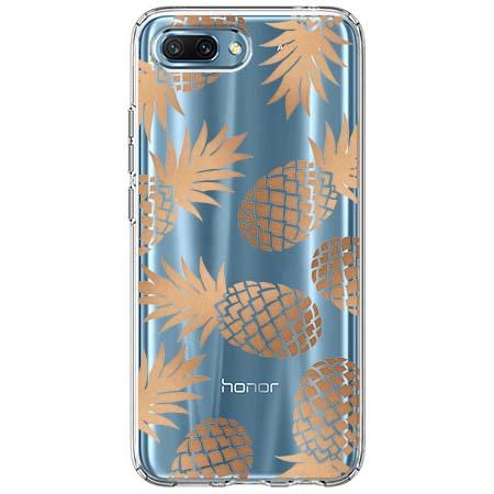 Etui na Huawei Honor 10 - Złote ananasy.