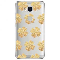 Etui na Huawei Honor 5X - Złote koniczynki.