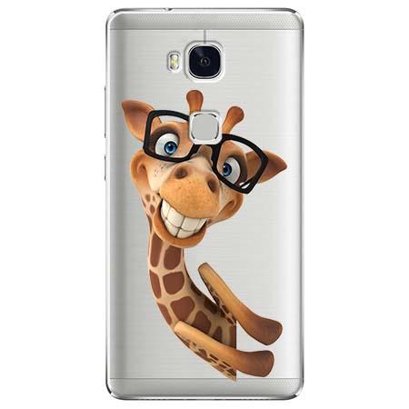 Etui na Huawei Honor 5X - Wesoła żyrafa w okularach.