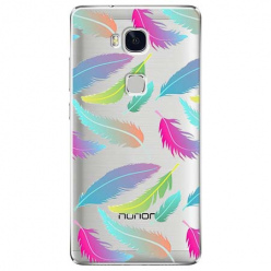 Etui na Huawei Honor 5X - Tęczowe piórka.