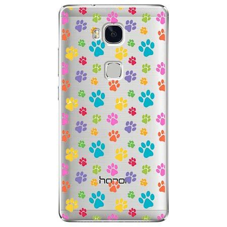 Etui na Huawei Honor 5X - Kolorowe psie łapki.