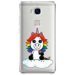 Etui na Huawei Honor 5X - Tęczowy jednorożec na chmurce.