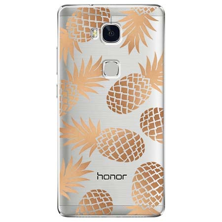 Etui na Huawei Honor 5X - Złote ananasy.