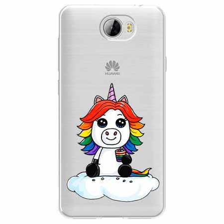 Etui na Huawei Y5 II - Tęczowy jednorożec na chmurce.