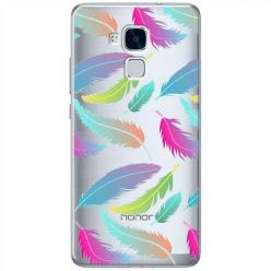 Etui na Huawei Honor 5C - Tęczowe piórka.