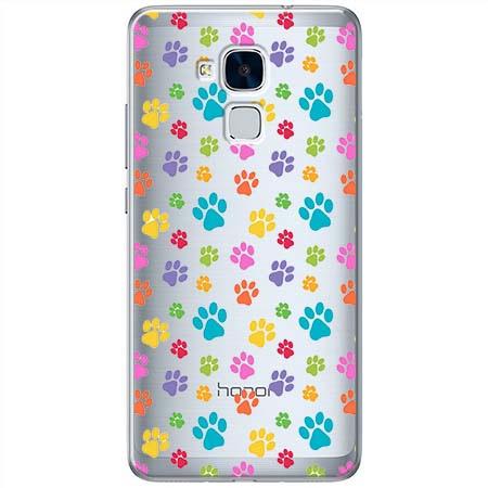 Etui na Huawei Honor 5C - Kolorowe psie łapki.
