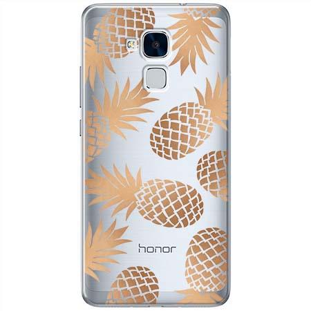 Etui na Huawei Honor 5C - Złote ananasy.