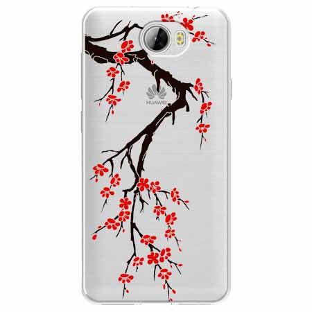 Etui na Huawei Y6 II Compact - Krzew kwitnącej wiśni.