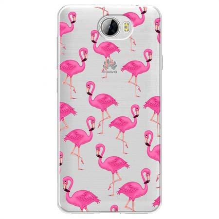 Etui na Huawei Y6 II Compact - Różowe flamingi.