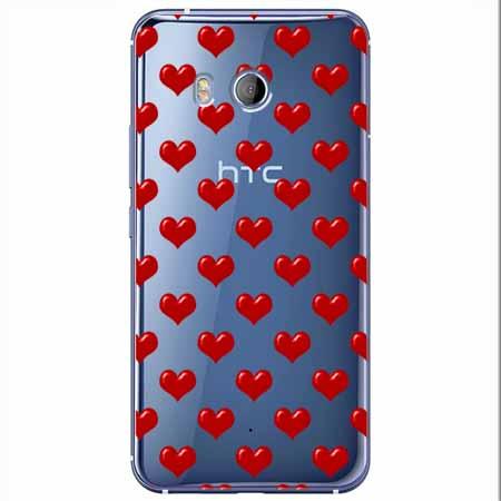 Etui na HTC U11 - Czerwone serduszka.