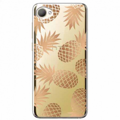 Etui na HTC Desire 12 - Złote ananasy.