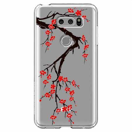 Etui na LG V30 - Krzew kwitnącej wiśni.