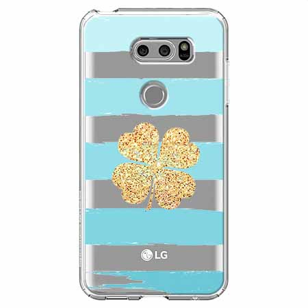 Etui na LG V30 - Złota czterolistna koniczyna.