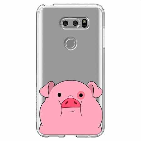 Etui na LG V30 - Słodka różowa świnka.