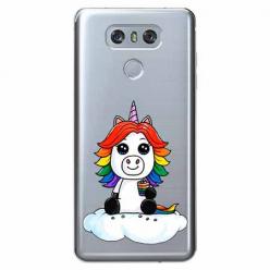 Etui na LG G6 - Tęczowy jednorożec na chmurce.