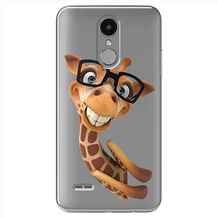 Etui na LG K4 2017 - Wesoła żyrafa w okularach.