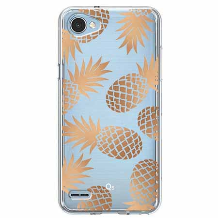 Etui na LG Q6 - Złote ananasy.