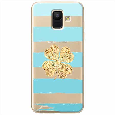 Etui na Samsung Galaxy A6 2018 - Złota czterolistna koniczyna.