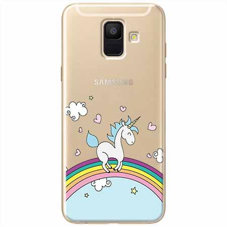 Etui na Samsung Galaxy A6 2018 - Jednorożec na tęczy.