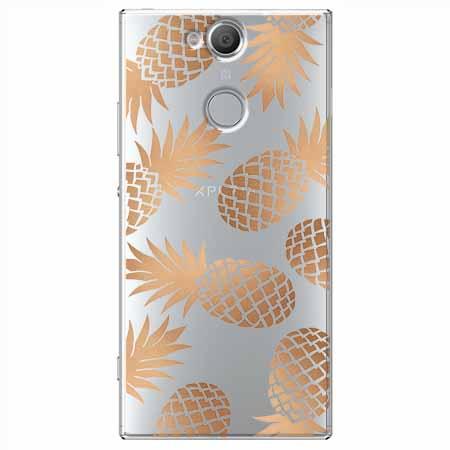 Etui na Sony Xperia XA2 - Złote ananasy.
