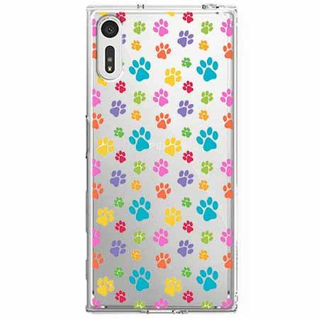 Etui na Sony Xperia XZ - Kolorowe psie łapki.
