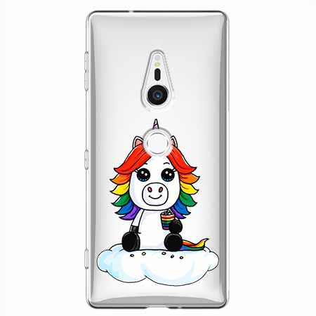 Etui na Sony Xperia XZ2 - Tęczowy jednorożec na chmurce.