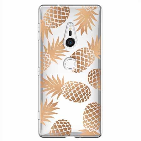Etui na Sony Xperia XZ2 - Złote ananasy.