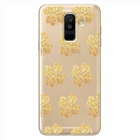 Etui na Samsung Galaxy A6 Plus 2018 - Złote koniczynki.