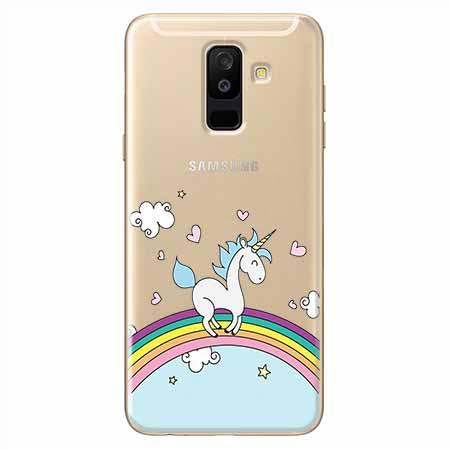 Etui na Samsung Galaxy A6 Plus 2018 - Jednorożec na tęczy.