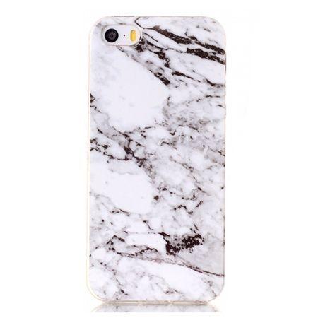 Etui na iPhone SE silikonowe TPU marmur - biały.