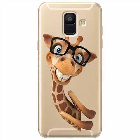 Etui na Samsung Galaxy A8 2018 - Wesoła żyrafa w okularach.