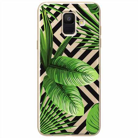 Etui na Samsung Galaxy A8 2018 -  Egzotyczne liście bananowca.