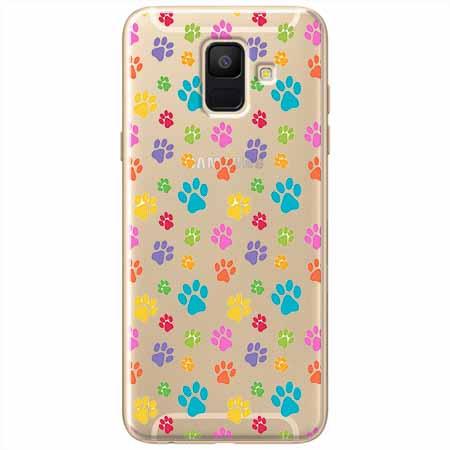 Etui na Samsung Galaxy A8 2018 - Kolorowe psie łapki.