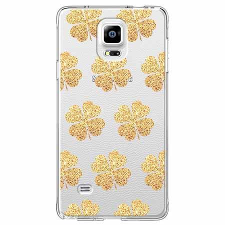 Etui na Samsung Galaxy Note 4 - Złote koniczynki.