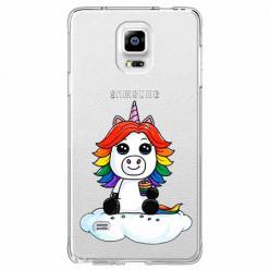 Etui na Samsung Galaxy Note 4 - Tęczowy jednorożec na chmurce.