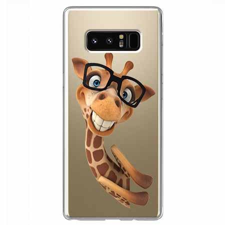 Etui na Samsung Galaxy Note 8 - Wesoła żyrafa w okularach.