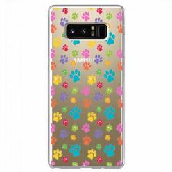 Etui na Samsung Galaxy Note 8 - Kolorowe psie łapki.
