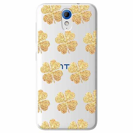 Etui na HTC Desire 620 - Złote koniczynki.