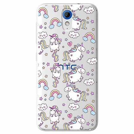 Etui na HTC Desire 620 - Tęczowe jednorożce.