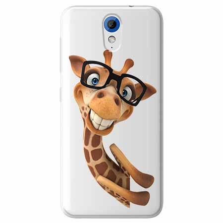 Etui na HTC Desire 620 - Wesoła żyrafa w okularach.