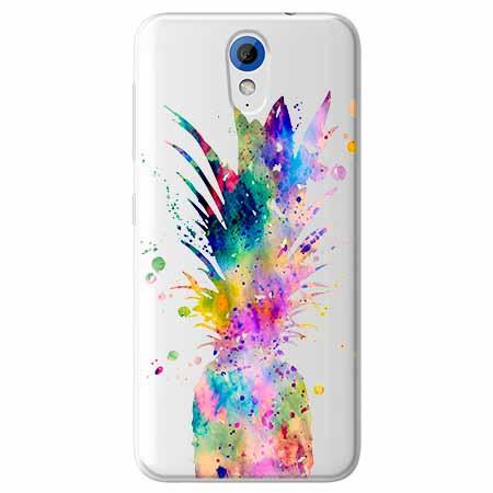 Etui na HTC Desire 620 - Watercolor ananasowa eksplozja.