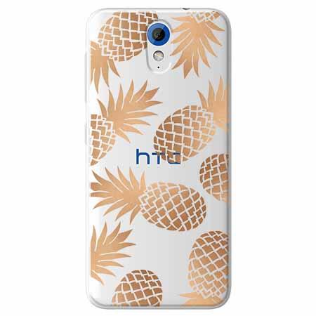 Etui na HTC Desire 620 - Złote ananasy.
