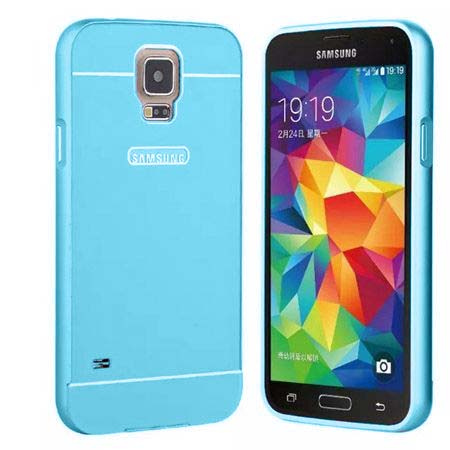 Samsung Galaxy S5 / S5 Neo etui aluminium bumper case - niebieski