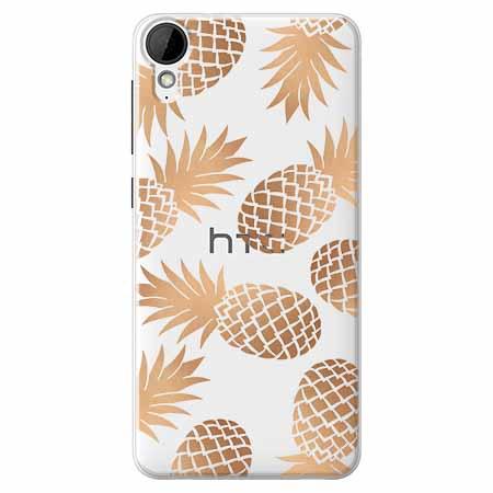 Etui na HTC Desire 825 - Złote ananasy.