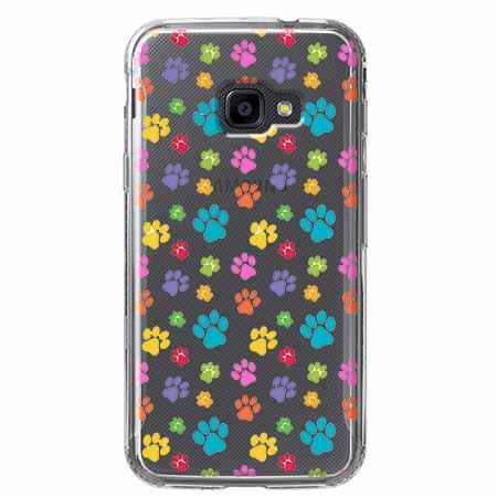 Etui na Samsung Galaxy Xcover 4 - Kolorowe psie łapki.