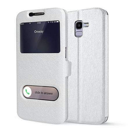 Etui na Samsung Galaxy J6 2018 - Flip Quick View z klapką dwa okienka - Biały.