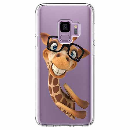 Etui na Samsung Galaxy S9 - Wesoła żyrafa w okularach.