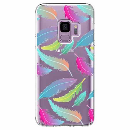 Etui na Samsung Galaxy S9 - Tęczowe piórka.